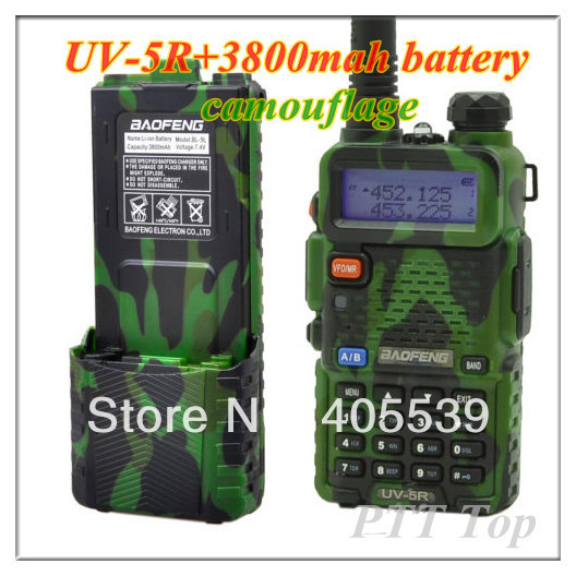 Free shipping two way radio Baofeng UV-5R with long Li-ion battery 3800mah camouflage Dual Band VHF & UHF walkie talkie(China (Mainland))