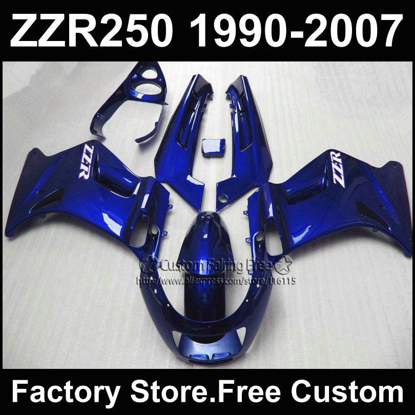 Custom free factory fairings set for Kawasaki ZZR-250 ZZR250 1990 1992 2007 ZZR 250 90-07 full blue motorcycle fairing body kits(China (Mainland))
