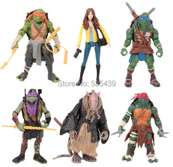 Hot ! NEW 6pcs/set 12cm TMNT Teenage Mutant Ninja Turtles mouse O 'neill Family portrait SPLINTER NICKELODEON Christmas gift toy(China (Mainland))