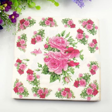 2018 wholesale rose flower paper napkin wedding christmas new year cheap napkins decoupage buy quality party table directly from china flower paper napkins suppliers materialpaper size33cm33cm folden size6565 mightylinksfo