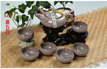 7pcs luxurious Ice Crack  teaset, Gong Fu Teapot,china tea cup,porcelain coffee set,Brown Green, Good for gifts, T15