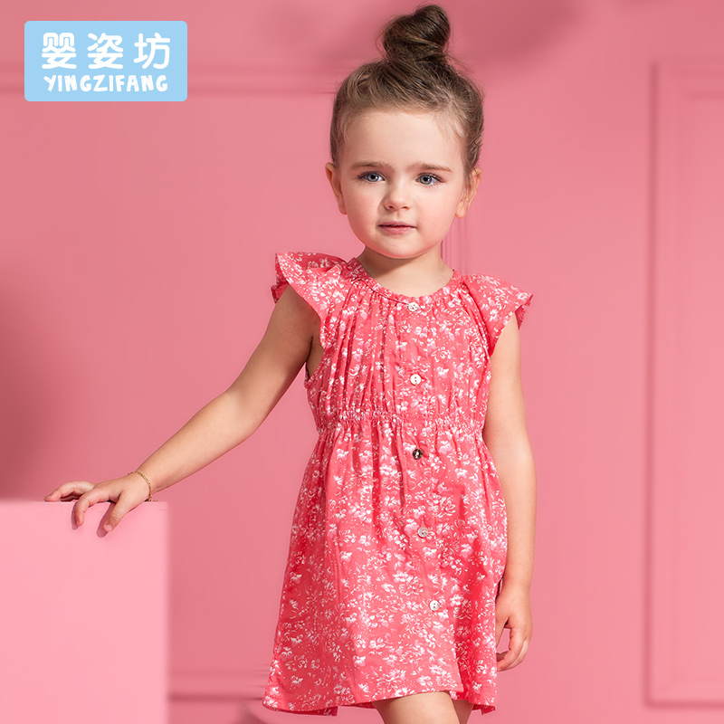 Free Shipping 2016 Hot Sale Fashion Dress Baby Girl Cute Princess Dress Kids Casual Clothing Summer Print Flowers Vest Dress(China (Mainland))