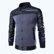 Free shipping men's leather jacket 2015 winter new men leather stand collar leather jacket men size M-XXL,2 Color 49(China (Mainland))