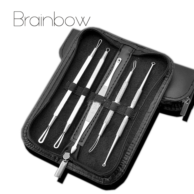 5pcs/pack Professional Antibacterial Acne Removal Needle Set&Kit Blackhead Blemish Acne Pimple Extractor Tool Skin Care Cleanser