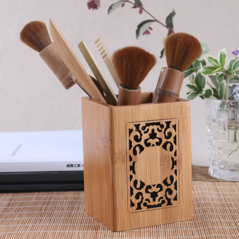 Wood desk pen pencils holder office storage carving box accessories container stationary sundries desktop organizer vintage gift(China (Mainland))