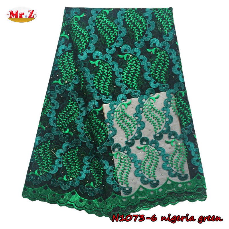 Mr.Z African Tulle Lace Fabric For Wedding Dresses High Quality Embroidery French African Lace Fabric With Rhinestones N1073(China (Mainland))