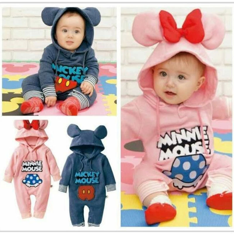 0-12M/2015 autumn new born baby girls boys jumpsuits children's winter rompers Cartoon long sleeve warm infant clothing BC1405(China (Mainland))
