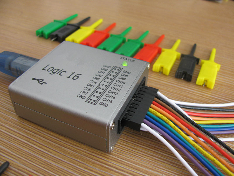 USB Logic Analyzer with CLK OUT,Frequency Generator .100M max sample rate,16Channels,10B samples, MCU,ARM,FPGA debug tool