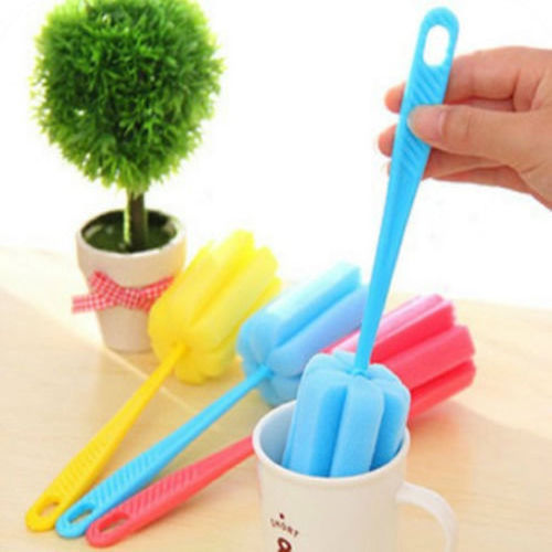 Random Color!! 1 X Sponge Glass Bottle Cup Cleaner Kitchen Washing Brush Cleaning Tools Random Colors New(China (Mainland))