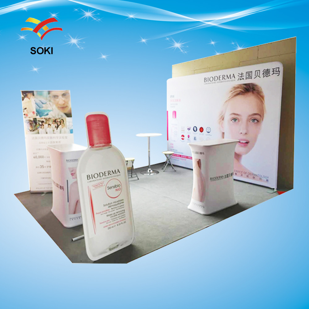 10ft Trade Show Booth Size High Quality Portable Tension Fabric Display Exhibition Solution,Advertising Screen Banner Stand(China (Mainland))