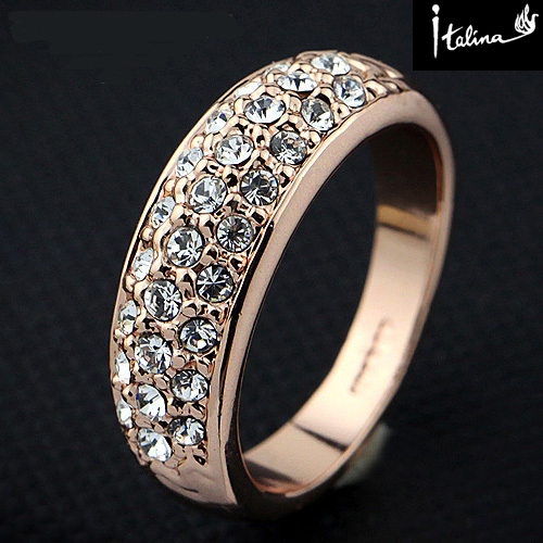 2014 New Sale Real Italina Rigant Genuine Austria Crystal 18K gold Plated Rings for Women RG90617Rose