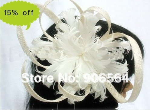 Free shipping whole sale and retail the fashion new handmade sinamay hats,feather fascinator hats whitle color M21