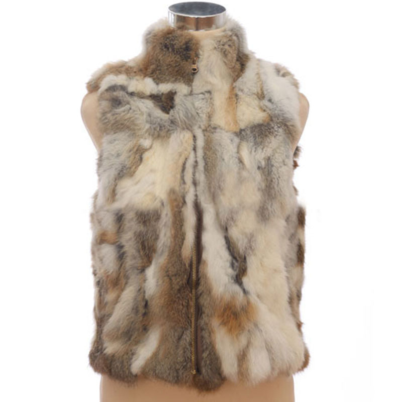 2015 Autumn winter real rabbit fur vest fashion sleeveless jacket lady natural fur coat waistcoat high quality free shipping(China (Mainland))