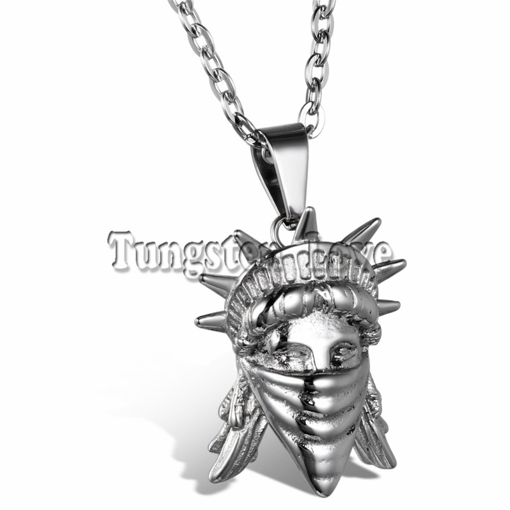 Fashion Jewelry Silver Statue Of Liberty head Pendant 316L Stainless Steel Necklace for Men Women with 55cm Chain collares(China (Mainland))