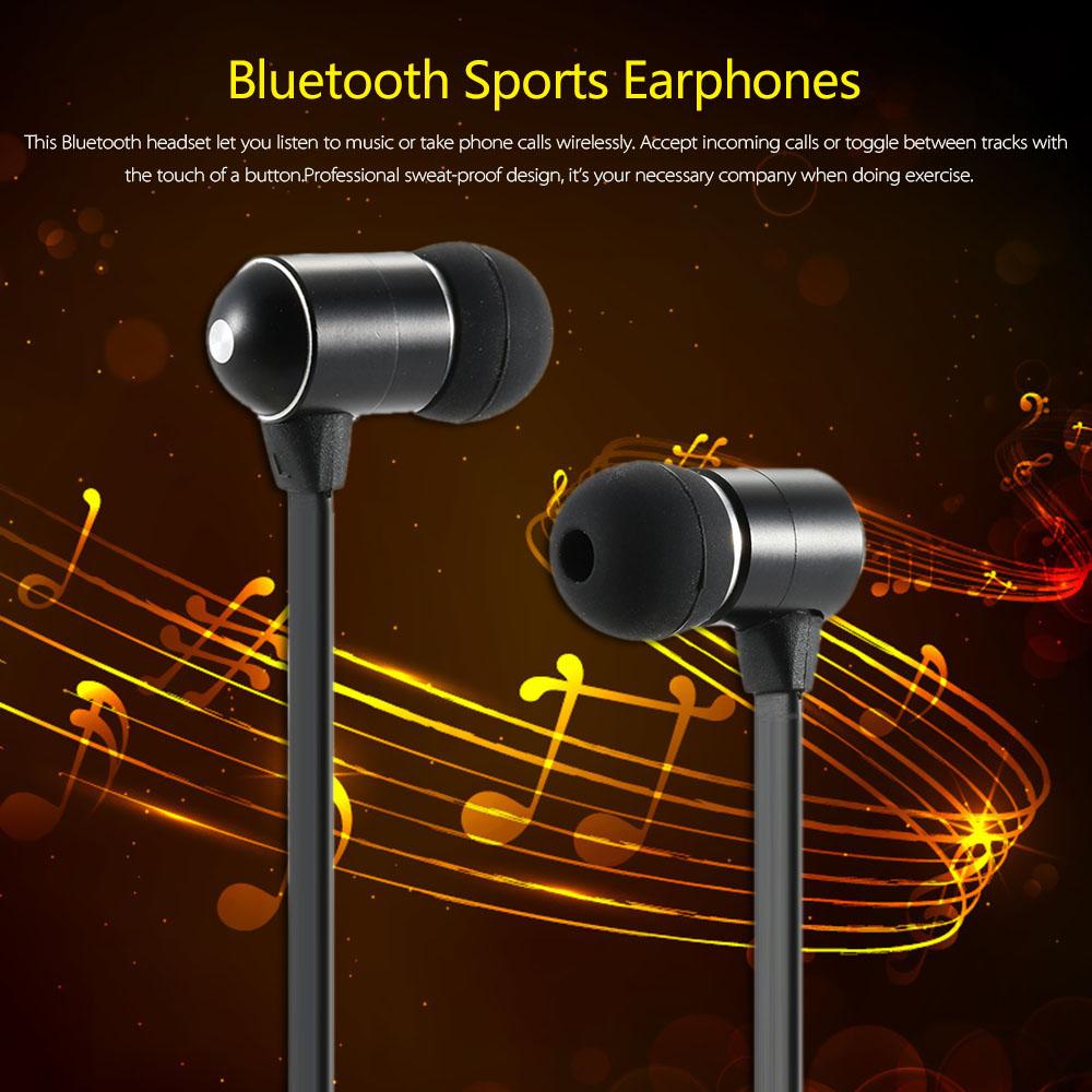 Фотография BH-06 Wireless Bluetooth Stereo Headset In-ear Sport Sweat-proof BT 4.0 + EDR Music Earphones Hands-free w/ Mic Black Metal