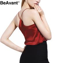 BeAvant 2016 new summer style sleeveless silk white women tank top Sexy deep v neck black camisole tank Casual party girls tops(China (Mainland))