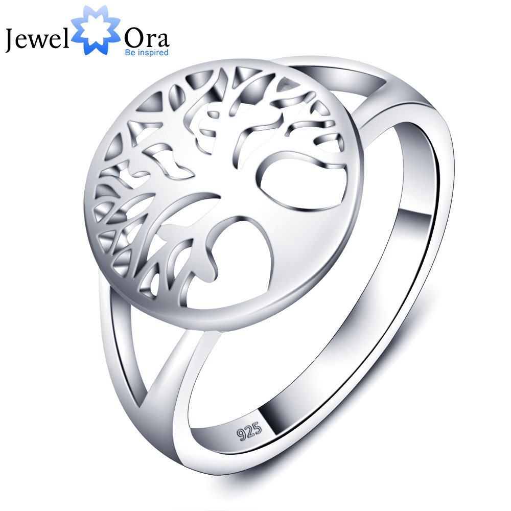 Tree of Life Classic Accessories 925 Sterling Silver Rings For Women New (JewelOra RI102308)(China (Mainland))