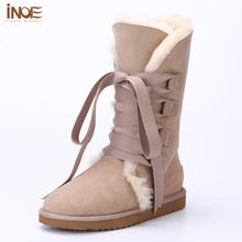 INOE Moda Lace up suede botas muchachas de la nieve para las mujeres huecas forrada de piel botas de invierno de cuero de piel de oveja real pisos de calzado(China (Mainland))