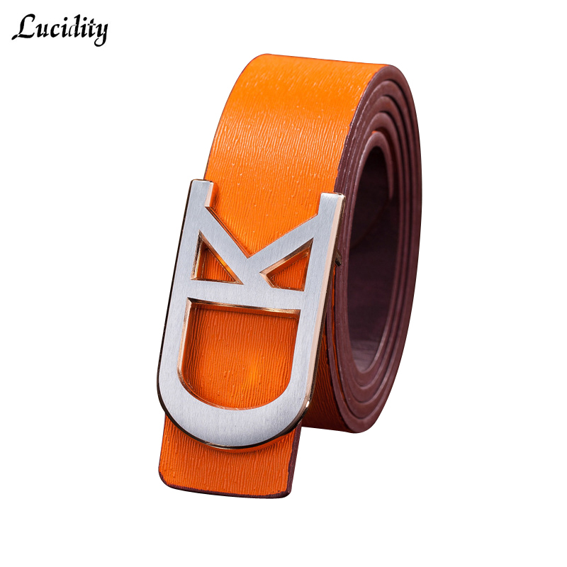 Hot 2016 Men PU Leather Belt Buckles Fashion Smooth Buckle Female Belt Casual All-Match Mens Name Brand Belts Unisex(China (Mainland))