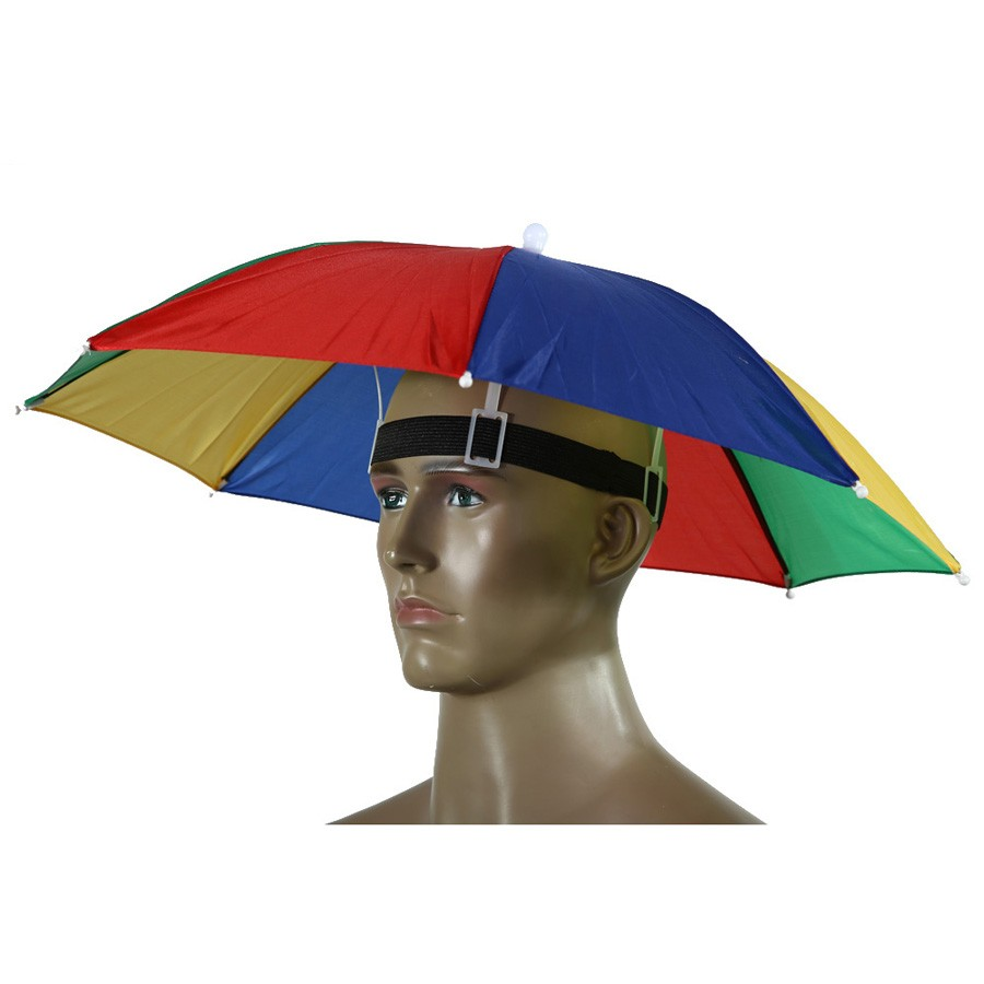 FE# Portable 55cm Umbrella Hat Sun Shade Lightweight <font><b>Camping</b></font> Fishing Hiking Festivals Outdoor Brolly Free Shipping