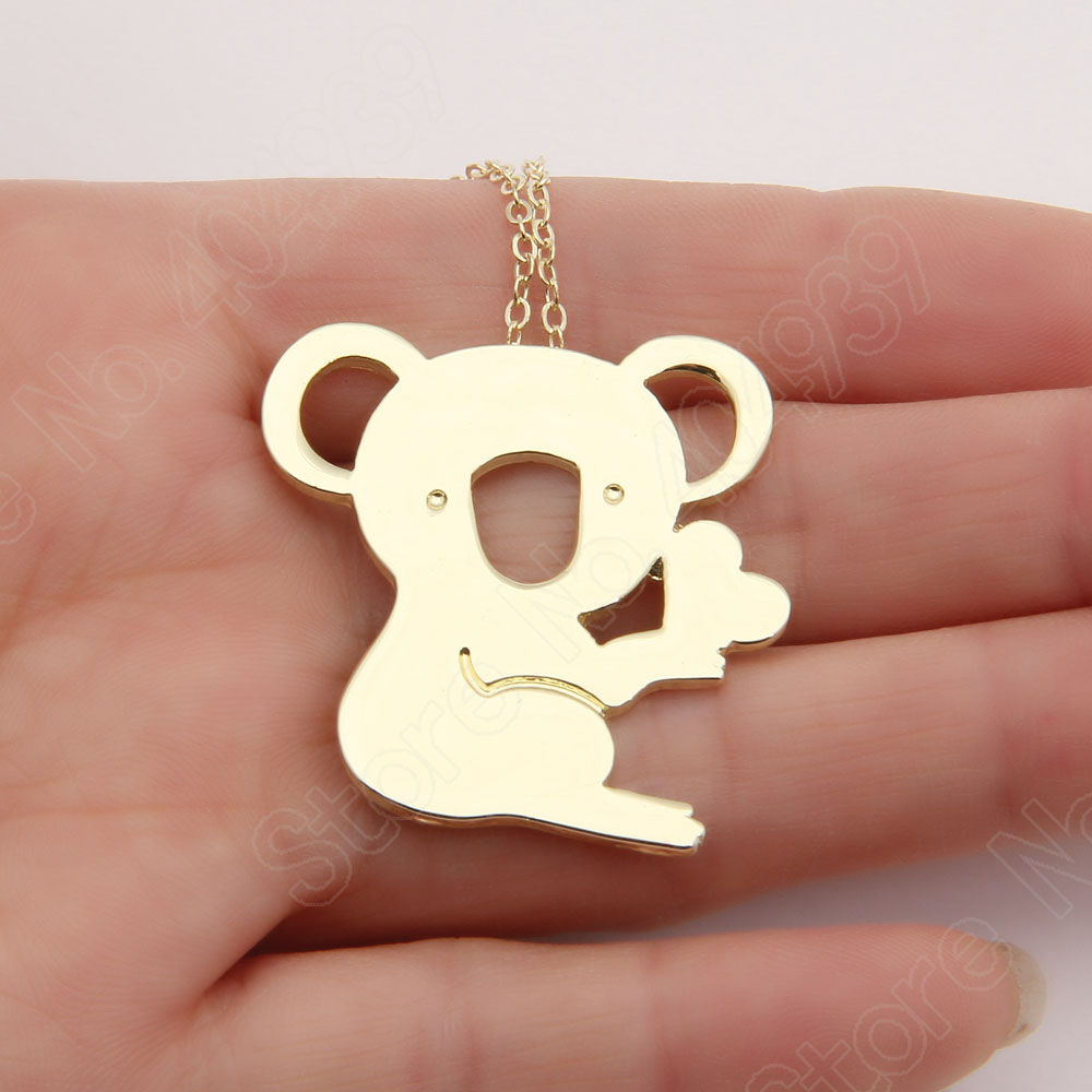 10pcs Koala Necklace Heart Cute Delicate Necklaces &amp; Pendants Gold Choker Necklace Women Pendant Necklace Long Halskette<br><br>Aliexpress