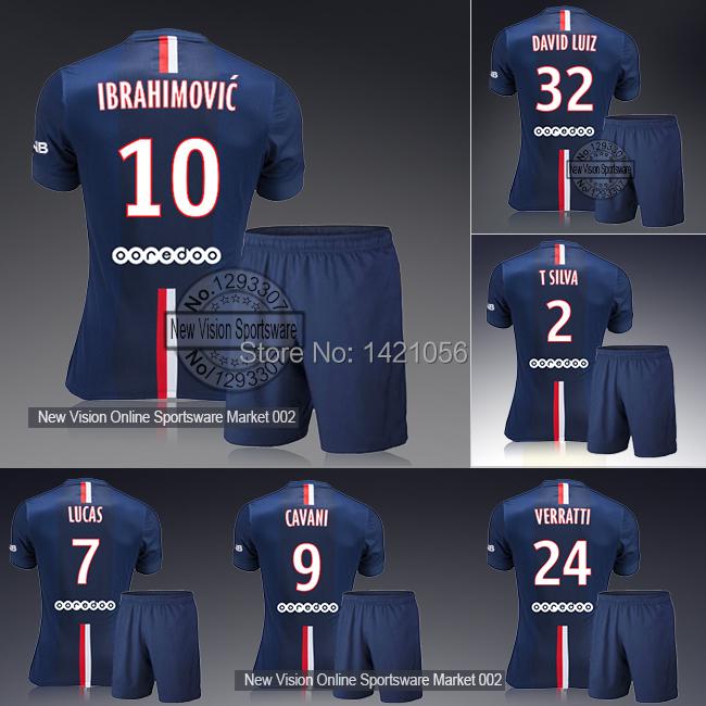 Youth & Kids Paris Home Ibrahimovic David Luiz Lucas Cavani Silva Soccer Jersey Kit Teenager Outfit Boys Football Shirt Uniform(China (Mainland))