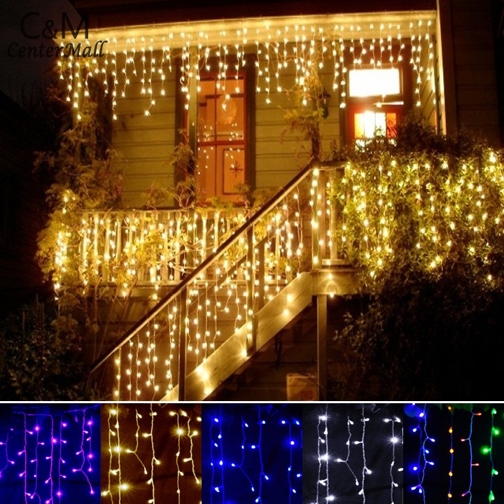 christmas outdoor decoration 3.5m Droop 0.3-0.5m curtain icicle string led lights 220V New year Garden Xmas Wedding Party 34(China (Mainland))