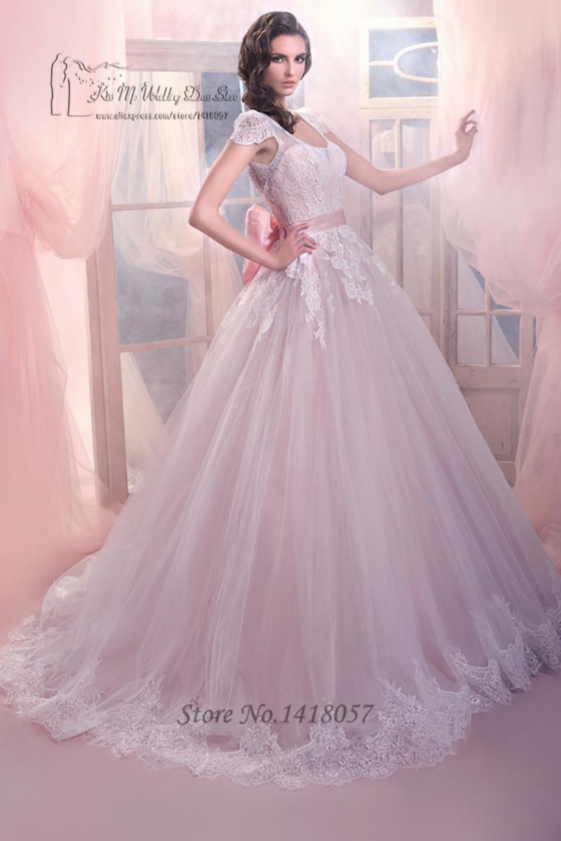 Dreamy design light pink princess wedding dresses 2016 cap for Designer ball gown wedding dresses
