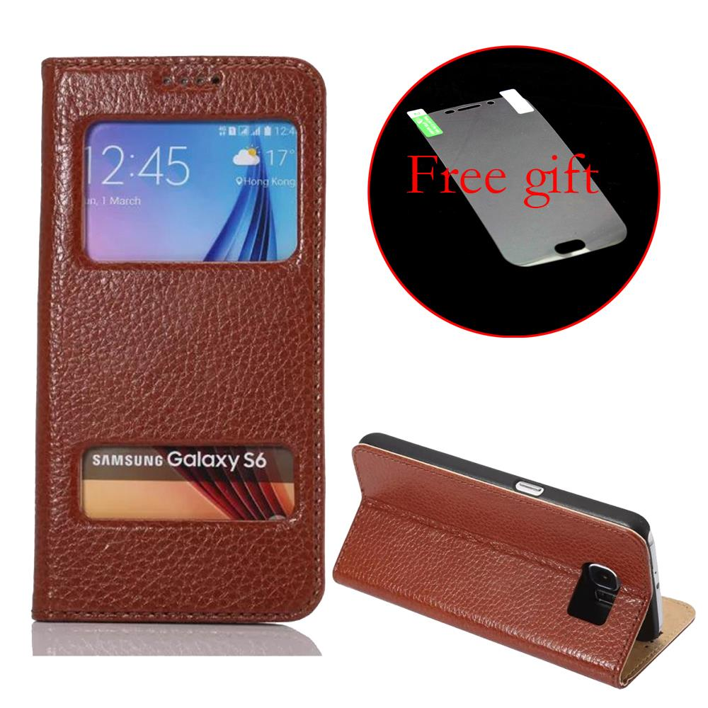 For Samsung Galaxy S6 S6 Edge Luxury View Window Flip Leather Phones Case with Sliding Answer Calls+Free Protective film(China (Mainland))