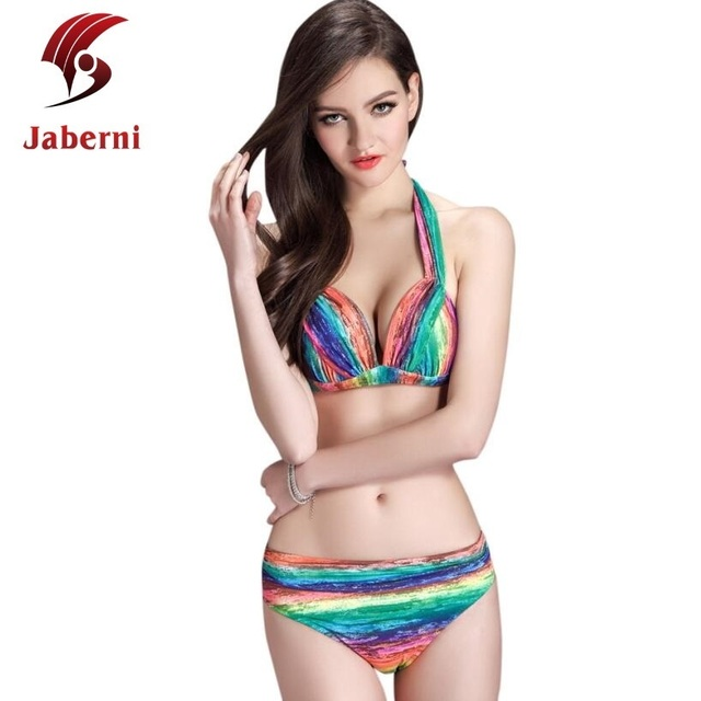 Радуга мода купальный костюм женщин сексуальный бренд повод боди дамы росту бикини устанавливает пляж неоновые женские полосы купальник