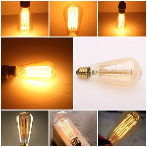 Edison Vintage Antique ST64 220V/40W E27 Industrial Light Ceiling Bulb Lighting Reproduction Incandescent Decor(China (Mainland))