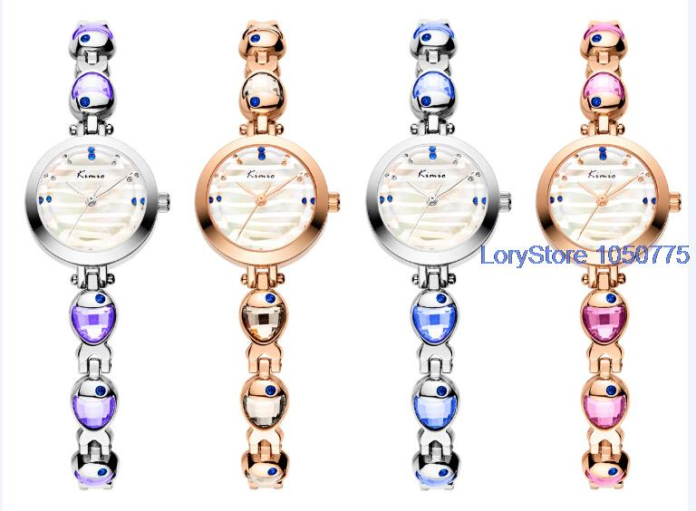 2016 New KIMIO Alloy Lady Dress Fresh Wristwatch Unique Design 6119s Petals Rhinestone Strap Elegant Design Watch for Women <br><br>Aliexpress
