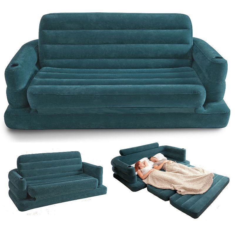 Free shipping Inflatable Sofa Bed Couch Intex Furniture Air Lounge Pull Out Queen Mattress with hand pump(China (Mainland))