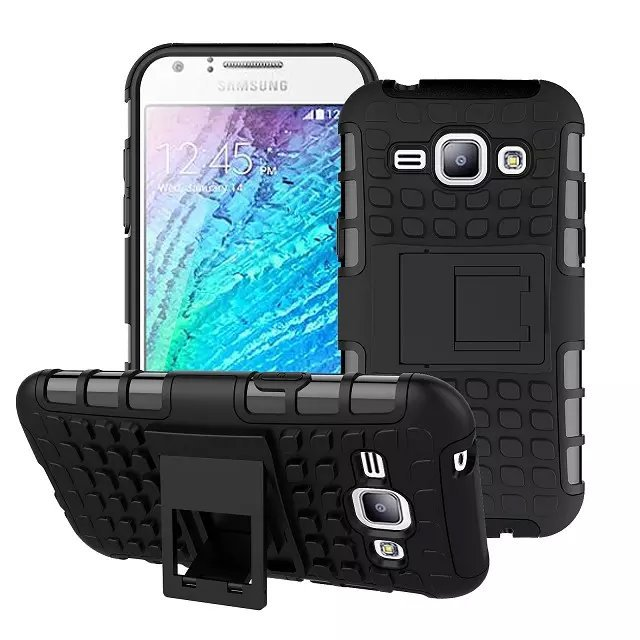 For Samsung Galaxy J1 J100 Hard Plastic+Silicone Rubber Gel 2 in 1 Hybrid Stand Shield Rugged Military Tire 3d Armor Case Cover(China (Mainland))