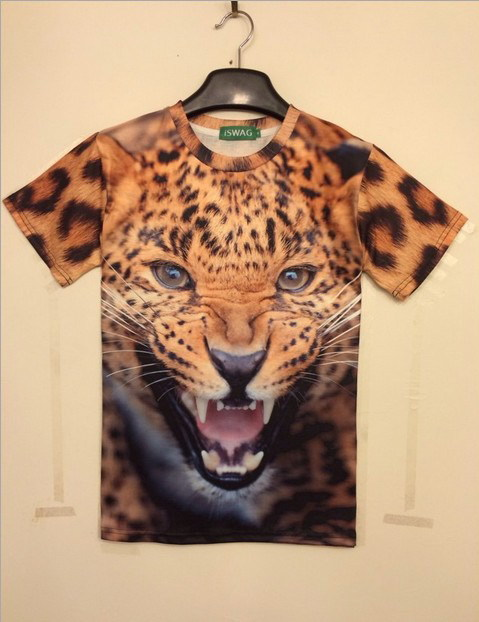 Fashion brand 3D animal stereo creative t-shirt men and women of European and American pop lovers bottoming Shirt Short Sleeved(China (Mainland))