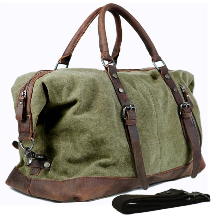 Vintage military Leather Canvas men travel bags men weekend luggage & bags sports & leisure bags duffle bags travel tote(China (Mainland))