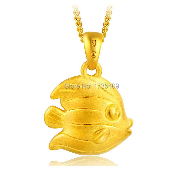 Authentic 999 24k Yellow Gold Pendant 3D Love Fish Pendant 1.22g<br><br>Aliexpress