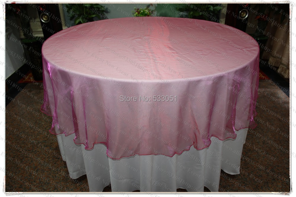 180cm Round NO.3 Fuchsia Color Organza Table Overlay/Table Cover/Tablecloth For Wedding Party Home Hotel Banquet Decorations(China (Mainland))