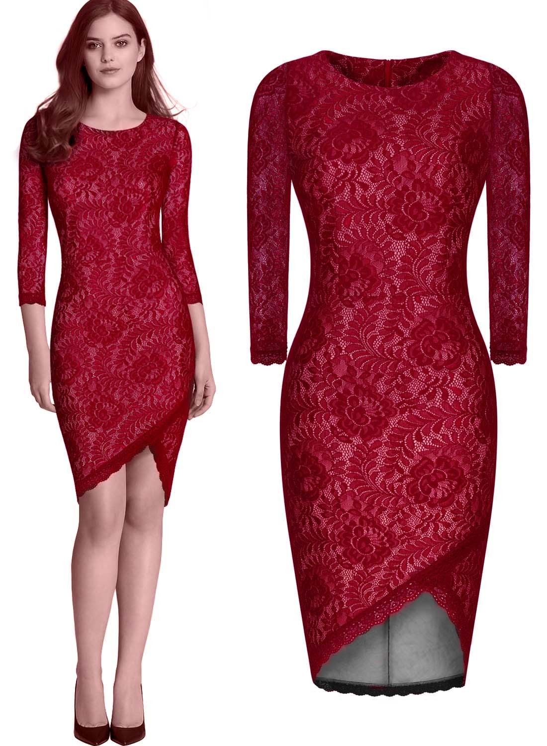 Bodycon Floral Lace Dress O-Neck 3/4 Sleeve Formal Bussiness Party Dresses