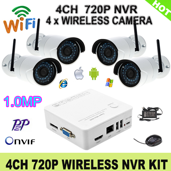Wireless 4CH Onvif HDMI HD NVR 1080P Network Video Recorder 720P Wifi IP Camera With 36 Leds P2P Cloud Service CCTV System Kit(China (Mainland))