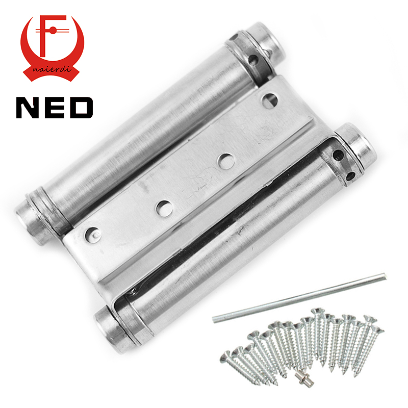 2PCS NED-5107 4 Inch Double Action Spring Door Hinge Stainless Steel Rebound Hinge For Cafe Swing Western Furniture Hardware(China (Mainland))