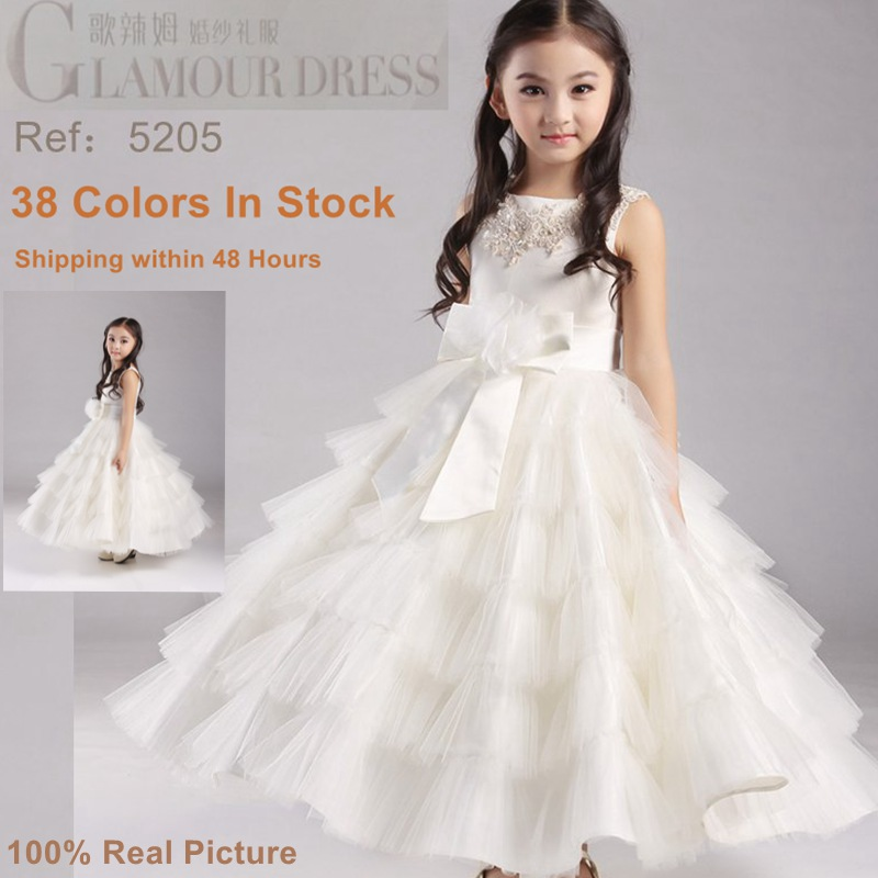 Factory Wholesale Girls Pageant Dresses Fluffy Girl Party Dress Tulle Ivory Flower Girl Dresses For weddings Kids Evening Gowns(China (Mainland))