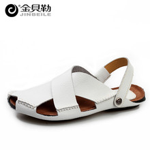 Men Sandals 2016 Brand Handmade Genuine Leather Beach Slippers Outdoor Summer Casual Men Sandalias Hombre Zapatos Slides Brown