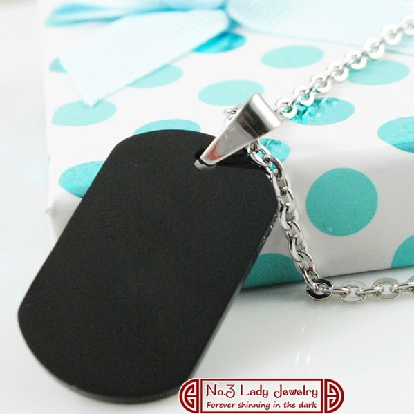 Free shipping, Pendant Blank, Fashion Stainless Steel Military Dog Tags Necklace, Black, Laser Logo Engrave Customize, wholesale