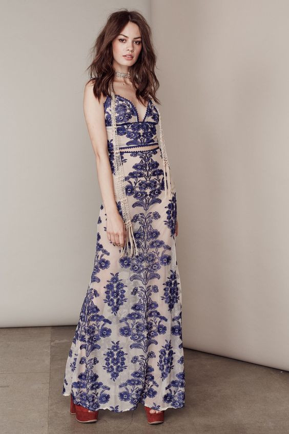2016 Women Fashion Sexy sheer nude mesh Blue inspired floral embroidery Lace Up Back Temecula Maxi Skirt & Crop Top