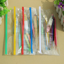 1pcs Excellent Quality Plastic Transparent Pencil Bag Pen Case Stationary Cover Pouch Document Holder Business Office Stationery(China (Mainland))