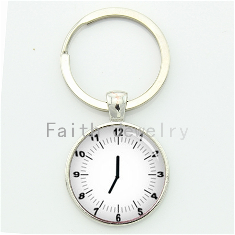 2016 latest fashion design minimalist clock key chain pop mens accessories romantic see you at time keychain handmade gift KC339(China (Mainland))