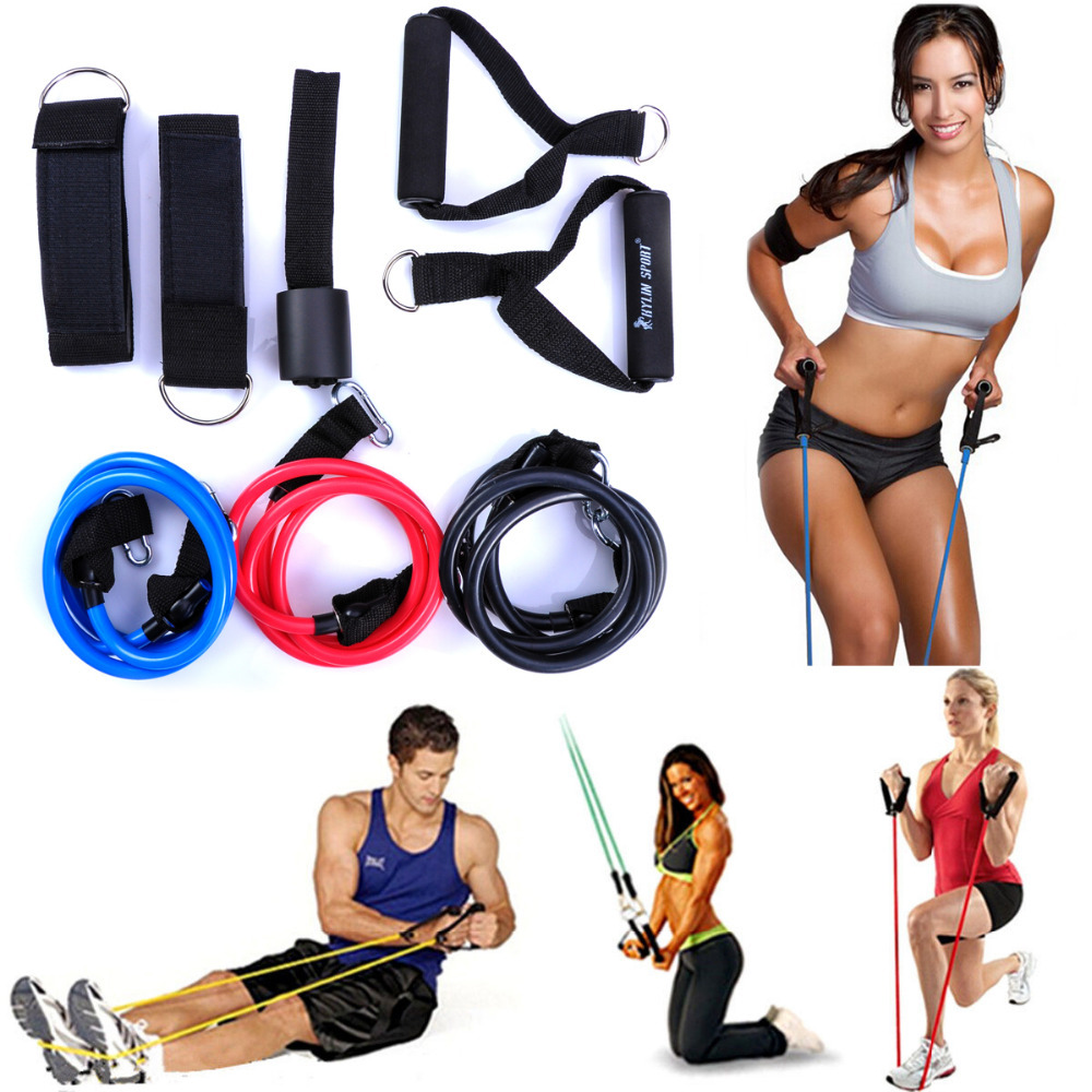 9pcs Set Exercise Resistance Band Set For Yoga Abs Fitness