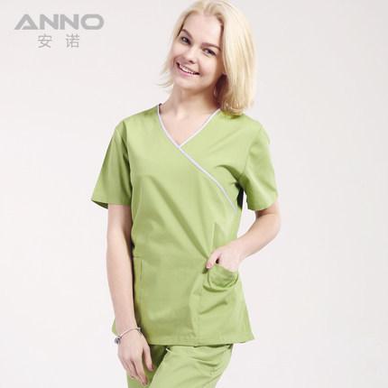 Top Medical scrubs set female nurse green uniform short sleeve cotton working split scrub surgical operation overalls clothing(China (Mainland))