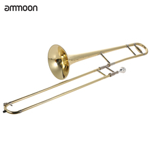 ammoon Bb Tone B flat Tenor Trombone Brass Gold Lacquer Wind Instrument with Cupronickel Mouthpiece Cleaning Stick Case(China (Mainland))